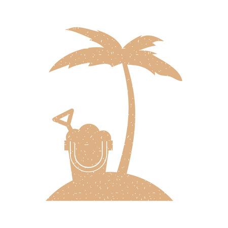 tree palm beach with sand bucket vector illustration design