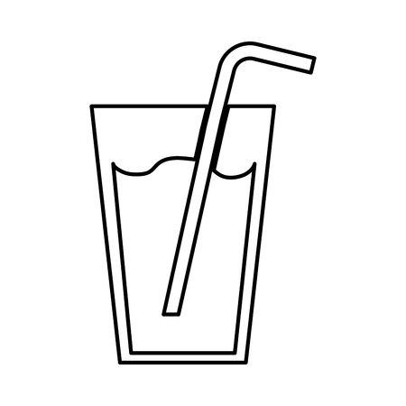 fresh juice drink with straw vector illustration design