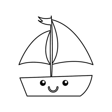 sailboat sea kawaii character vector illustration design