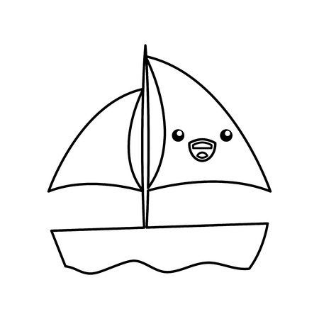 sailboat sea kawaii character vector illustration design Stok Fotoğraf - 81657515