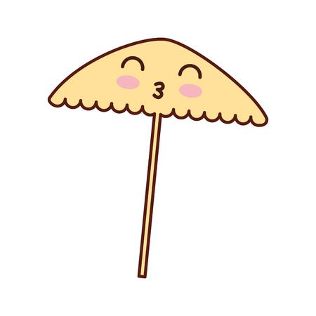 sunshade: beach umbrella kawaii character vector illustration design