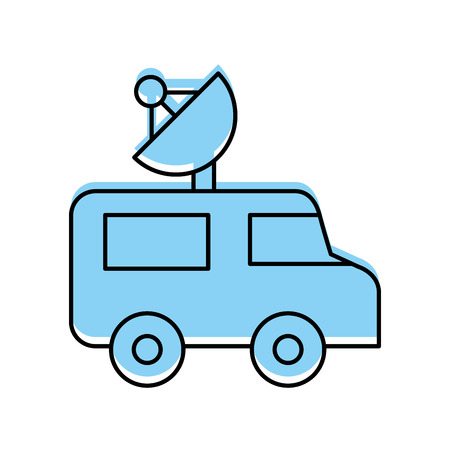 van with antena satelite isolated icon vector illustration design Ilustracja