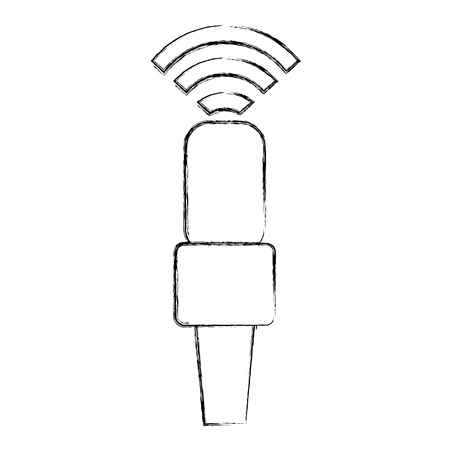 microphone communication device with wifi signal vector illustration design