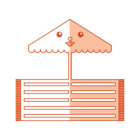beach umbrella kawaii character vector illustration design