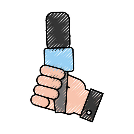 hand human with microphone communication device icon vector illustration design Illustration