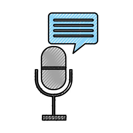 microphone communication with speech bubble vector illustration design