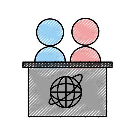 ニュース デスクのアイコン ベクトル イラスト デザインを壊す  イラスト・ベクター素材