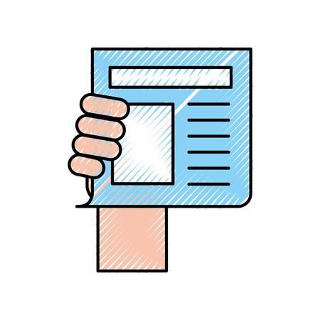 hand human with newspaper journal isolated icon vector illustration design Illusztráció