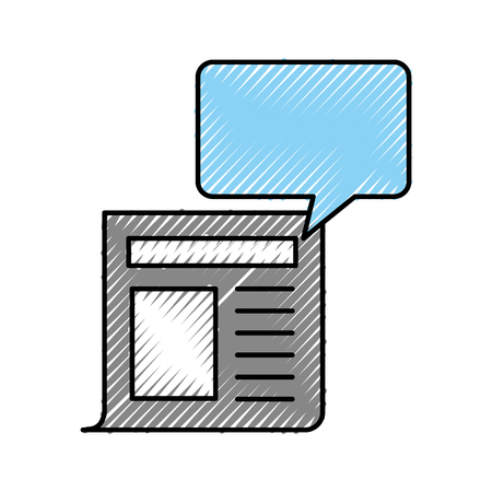 newspaper journal with speech bubble vector illustration design
