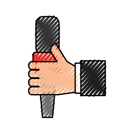 hand human with microphone communication device icon vector illustration design 向量圖像