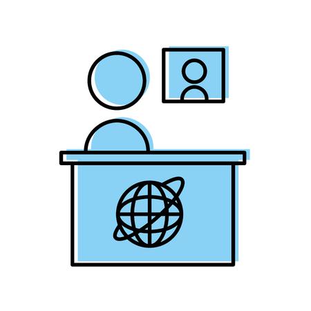 Breaking news desk icon vector illustratie ontwerp