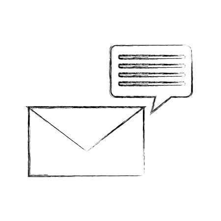 envelope with speech bubble message icon vector illustration design