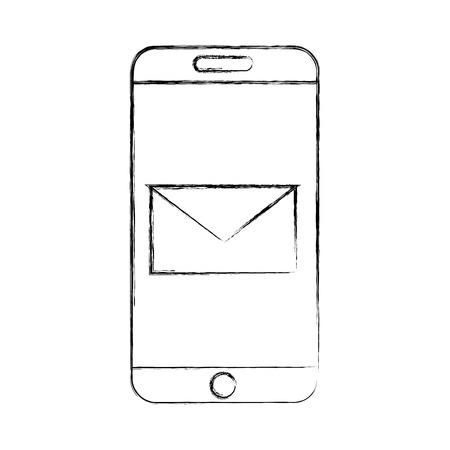 smartphone device with envelope vector illustration design Illusztráció