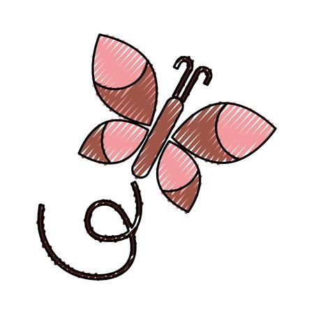 かわいい蝶のアイコン ベクトル イラスト デザインを分離しました。