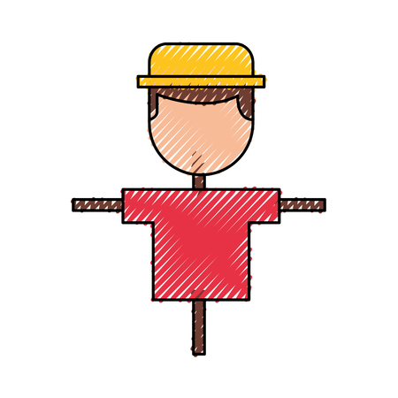 Boerenvogelverschrikker geïsoleerd pictogram vector illustratie ontwerp