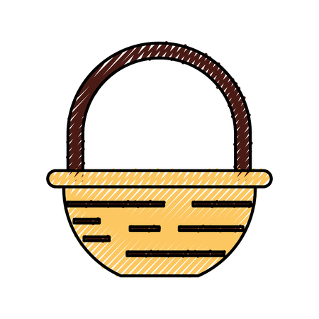 straw basket with farm product vector illustration design