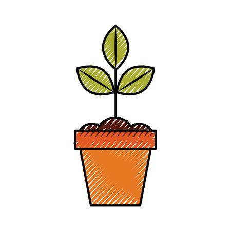 Gecultiveerde installatie in ontwerp van de potten het vectorillustratie