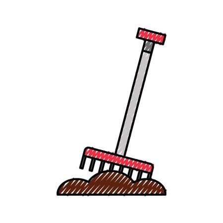 farm rake isolated icon vector illustration design