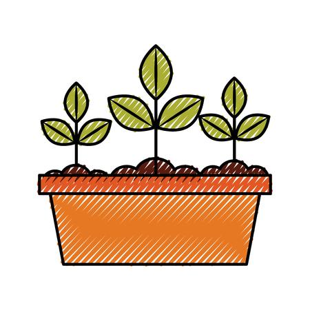 Gekweekte plant in pot vector illustratie ontwerp