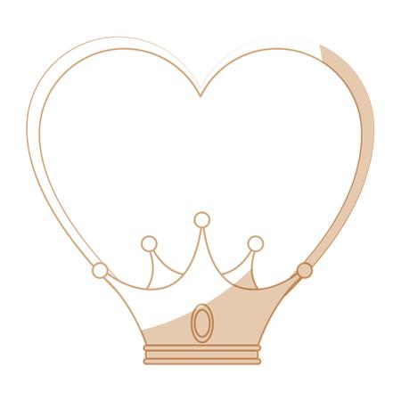 Corazón con el icono de la corona sobre fondo blanco ilustración vectorial Foto de archivo - 81657729