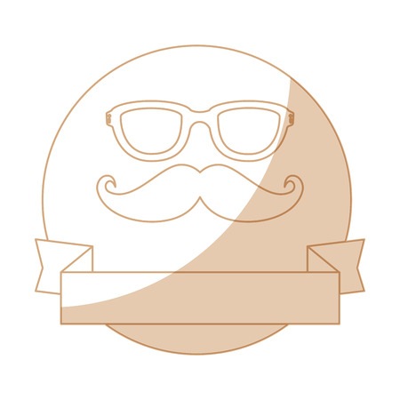 seal stamp with mustache and glasses icon over white background vector illustration Фото со стока - 81657736