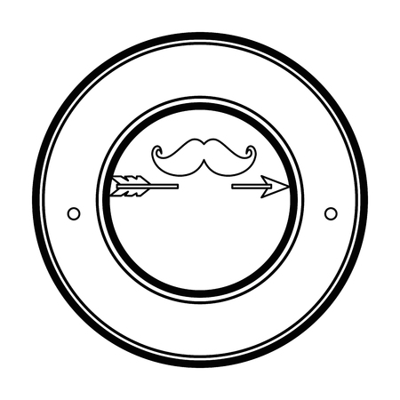 seal stamp with mustache icon over white background vector illustration Иллюстрация