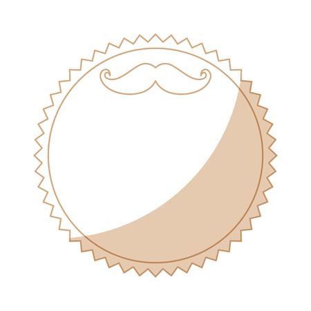 白い背景のベクトル図に口ひげアイコンにスタンプをシールします。
