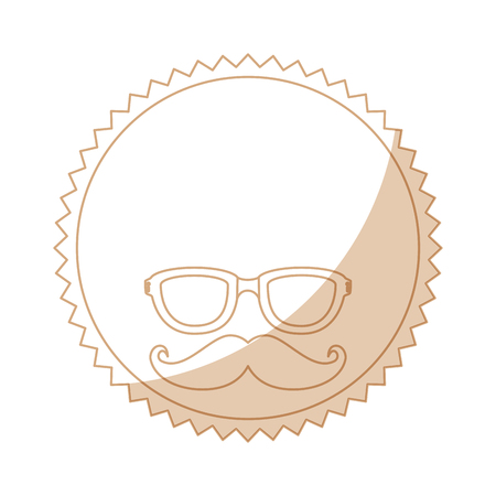 seal stamp with mustache and glasses icon over white background vector illustration Ilustração