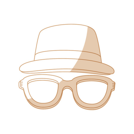hat and glasses icon over white background vector illustration Illustration