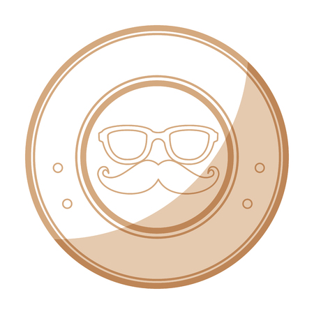 seal stamp with mustache and glasses icon over white background vector illustration Çizim