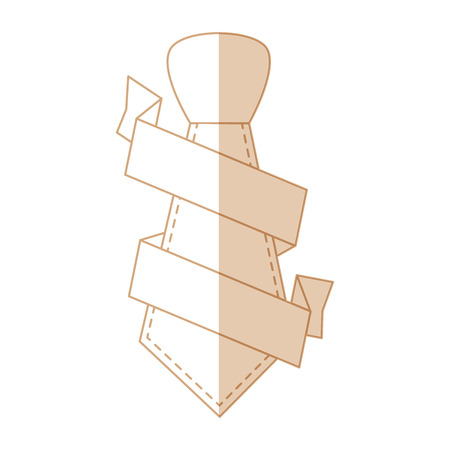 tie with decorative ribbon icon over white background vector illustration