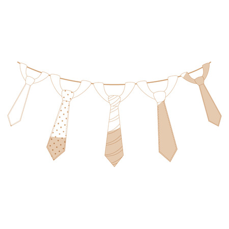 Ties hanging on a rope icon over white background vector illustration
