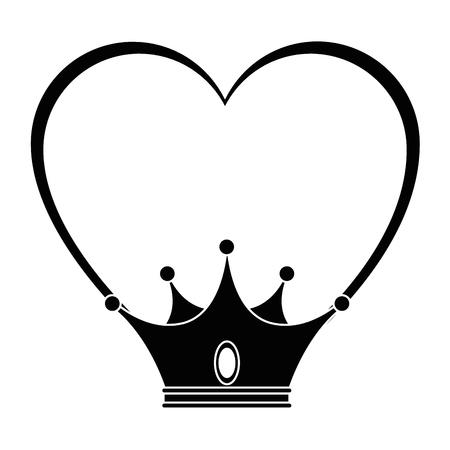 Corazón con el icono de la corona sobre fondo blanco ilustración vectorial Foto de archivo - 81657776