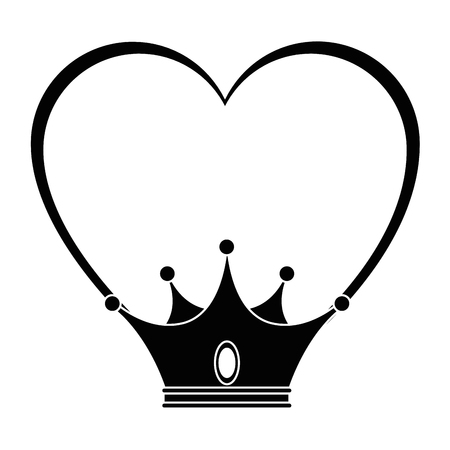 heart with crown icon over white background vector illustration
