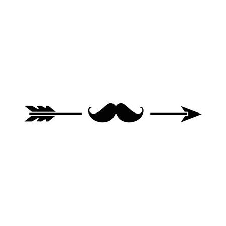 arrow with mustache icon over white background vector illustration
