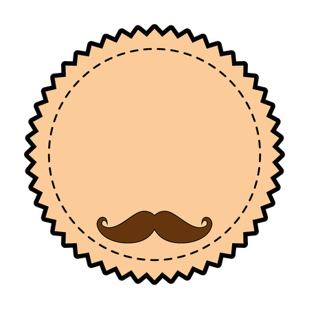 seal stamp with mustache icon over white background vector illustration Illustration