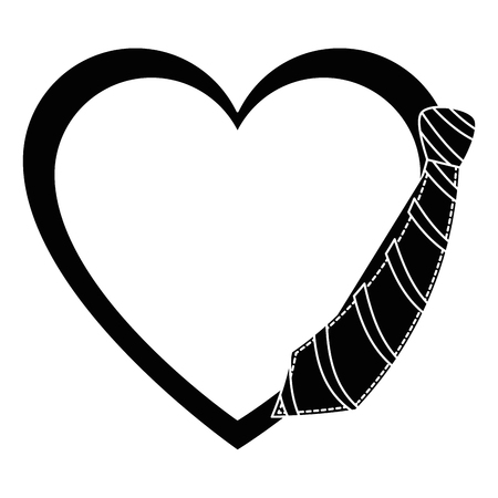 heart with decorative tie icon over white background vector illustration Illustration