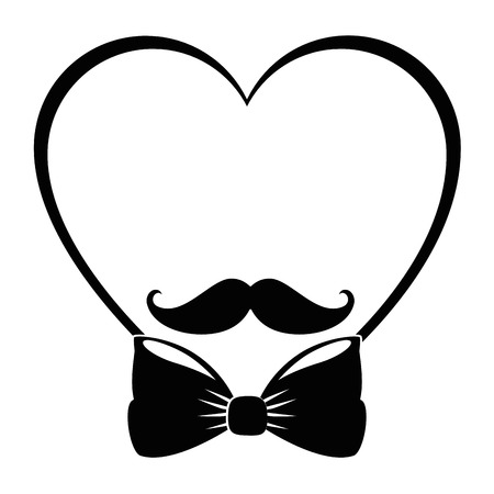 heart with mustache and bow icon over white background vector illustration