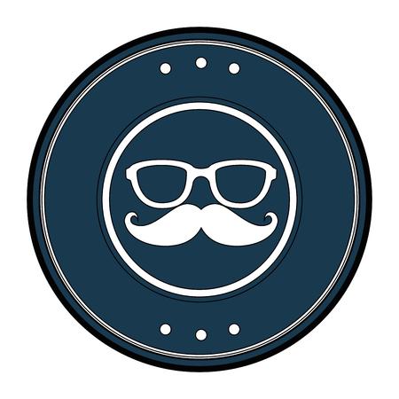 白い背景のベクトル図に口ひげ、メガネのアイコンが付いたスタンプをシールします。