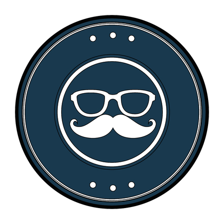 whiskers: seal stamp with mustache and glasses icon over white background vector illustration Illustration