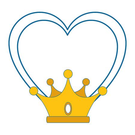 Corazón con el icono de la corona sobre fondo blanco ilustración vectorial Foto de archivo - 81643260