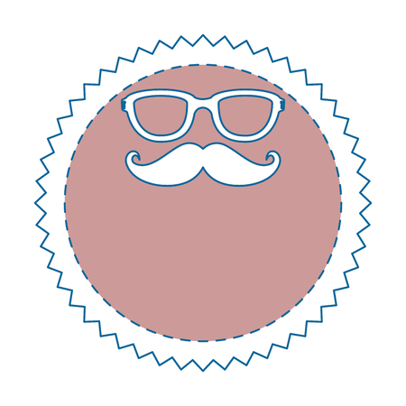 seal stamp with mustache and glasses icon over white background vector illustration Stok Fotoğraf - 81643545