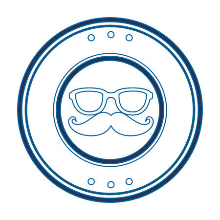 seal stamp with mustache and glasses icon over white background vector illustration Stok Fotoğraf - 81643551