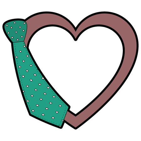 heart with decorative tie icon over white background colorful design vector illustration Illustration