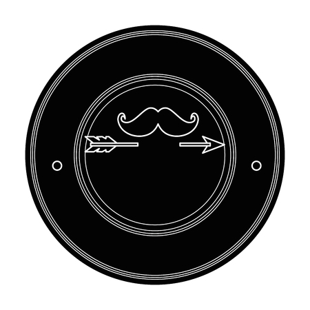 seal stamp with mustache icon over white background vector illustration Çizim