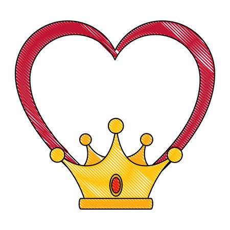 Corazón con el icono de la corona sobre la ilustración de vector de fondo blanco Foto de archivo - 81627522
