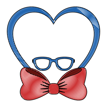 heart with bow and glasses icon over white background colorful design vector illustration
