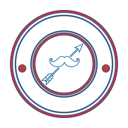 seal stamp with mustache icon over white background colorful design vector illustration