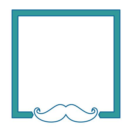白い背景ベクトル図の上髭アイコンで装飾的なフレーム