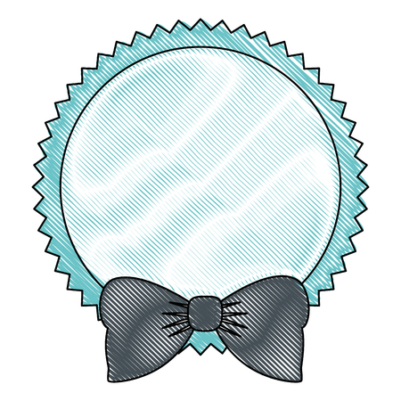 seal stamp with bow icon over white background colorful design vector illustration